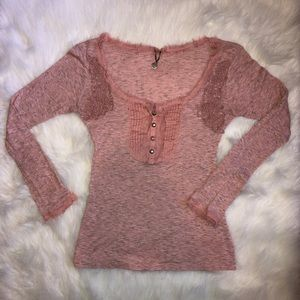 blush pink top by BKE Boutique